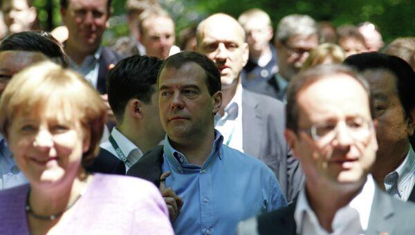 Ангела Меркель, Дмитрий Медведев, Франсуа Олланд на саммите G8 в Кэмп-Дэвиде