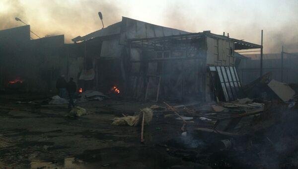 Пожар на строительном рынке в Подмосковье