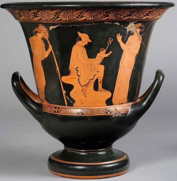Кратер краснофигурный с изображением Гермеса с младенцем Дионисом