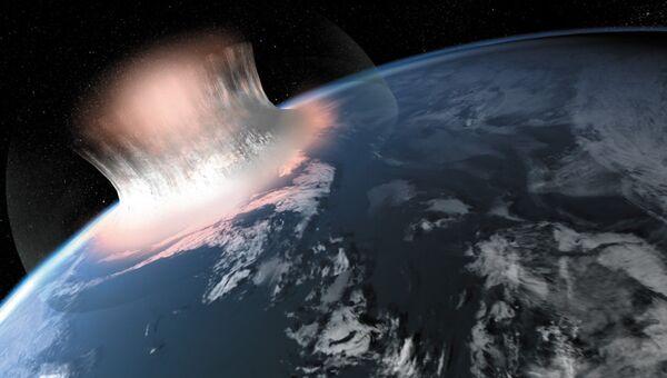 Так художник представил себе последствия падения астероида диаметром . Архив