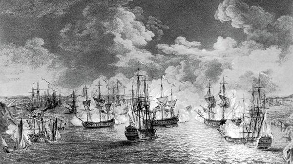Гравюра Чесменское сражение