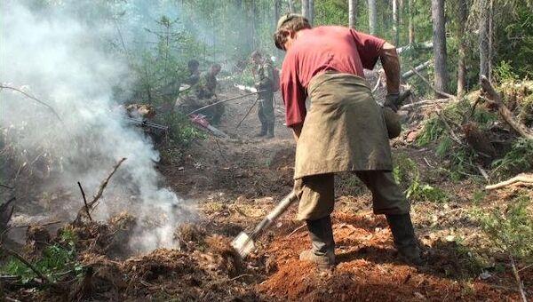 Пожарные-десантники тушат лопатами горящие сибирские леса