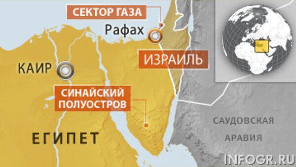 Граница с палестинском сектором Газа и Израилем, проходящая по Синайскому полуострову