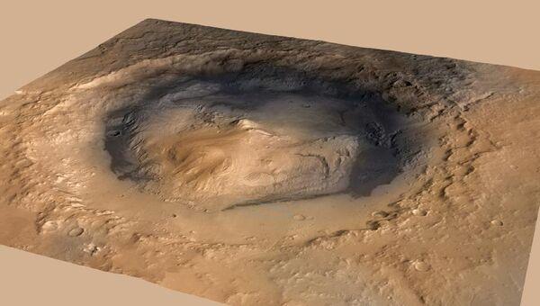 Положение марсохода Curiosity на высококачественном снимке кратера Гейл. Положение аппарата отмечено точкой