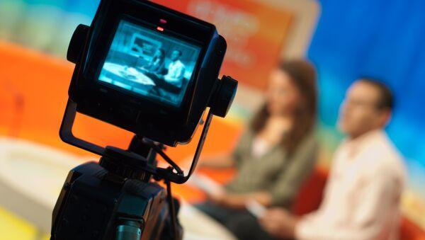 Съемка телепередачи.  Архивное фото