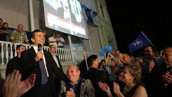 Лидер «Грузинской мечты» Бидзина Иванишвили на площади Свободы в Тбилиси