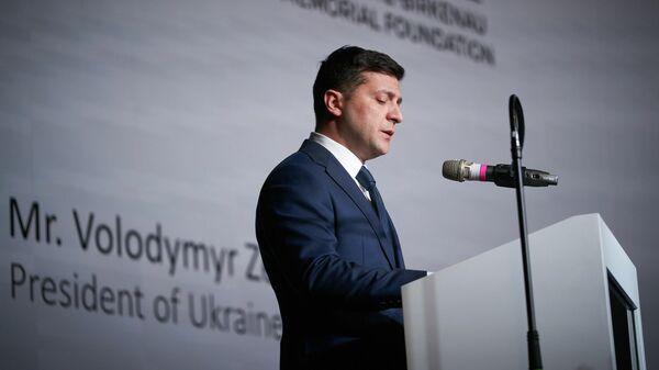 Президент Украины Владимир Зеленский во время мероприятий, посвященных 75-й годовщине освобождения бывшего нацистского немецкого концентрационного лагеря Аушвиц