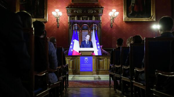 Президент Франции Эммануэль Макрон во время выступления в Ягеллонском университете в Кракове. 4 февраля 2020