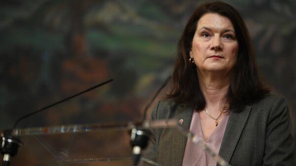 Министр иностранных дел Швеции Анн Линде на пресс-конференции по итогам встречи с министром иностранных дел РФ Сергеем Лавровым в Москве