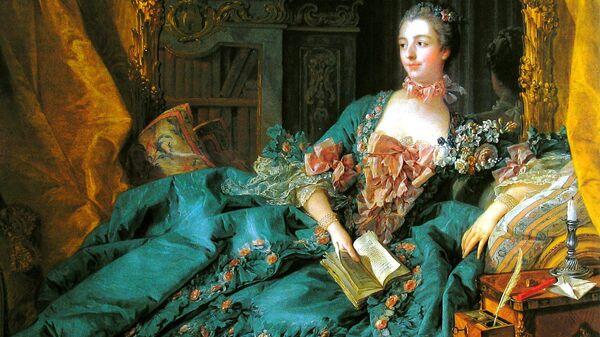 Фрагмент картины Франсуа Буше Портрет мадам де Помпадур. 1756 год