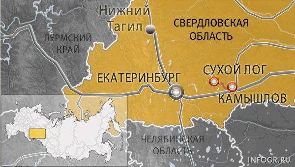 Автодорога между городами Сухой Лог и Камышлов Свердловской области