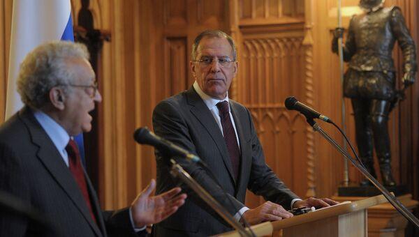 Встреча С.Лаврова со спецпосланником ООН по Сирии Л. Брахими