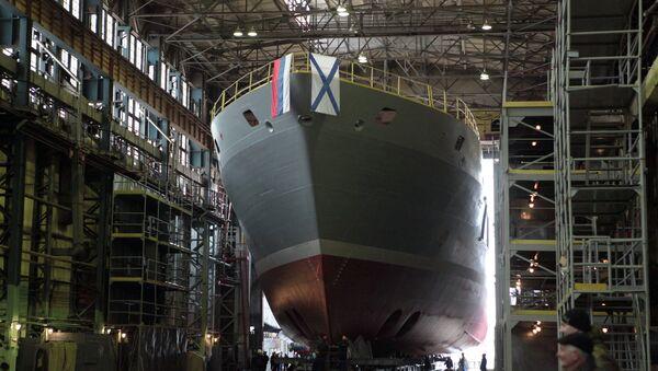 Спуск на воду поисково-спасательного судна Игорь Белоусов. Архивное фото