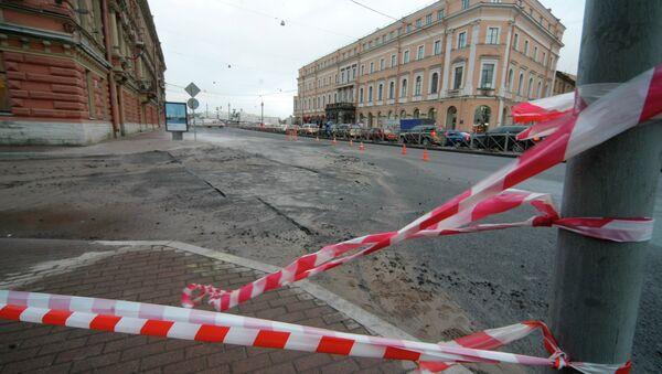 Прорыв трубы с горячей водой в Санкт-Петербурге