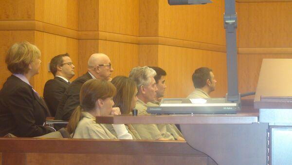 Фигуранты экспортного дела в зале суда. Александр Фишенко, Виктория Клебанова, Александр Пособилов и Анастасия Дятлова.