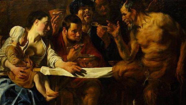 Картина Якоба Йорданса Сатир в гостях у крестьянина