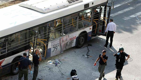 Автобус, взорвавшийся в центре Тель-Авива, Израиль