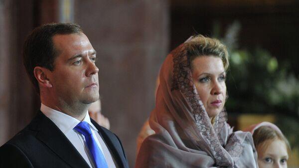 Д.Медведев на Рождественском богослужении в Москве