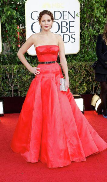 Актриса Дженнифер Лоуренс на церемонии вручения премии «Золотой глобус»