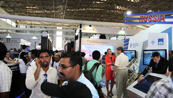 Российская экспозиция на авиационно-космической выставке Aero India. Архивное фото