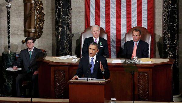 Президент США Барак Обама выступает перед конгрессом