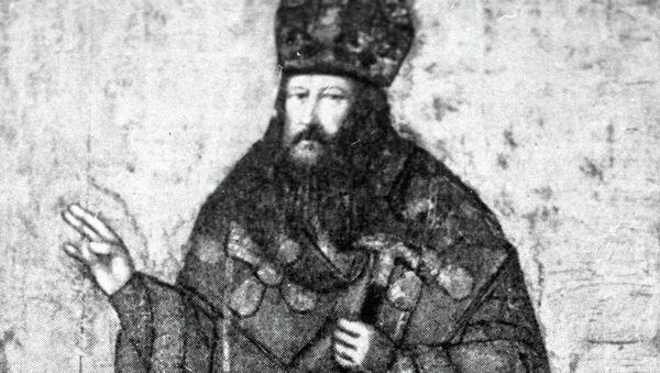 Репродукция рисунка, изображающего русского патриарха Никона