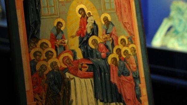 Икона «Успение Богородицы с образом Богоматери Неопалимая Купина»