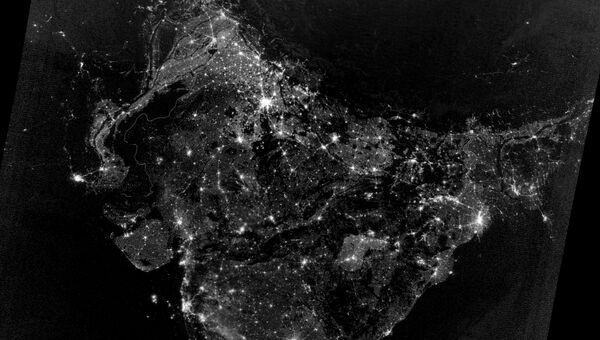 Ночные огни Южной Азии из космоса