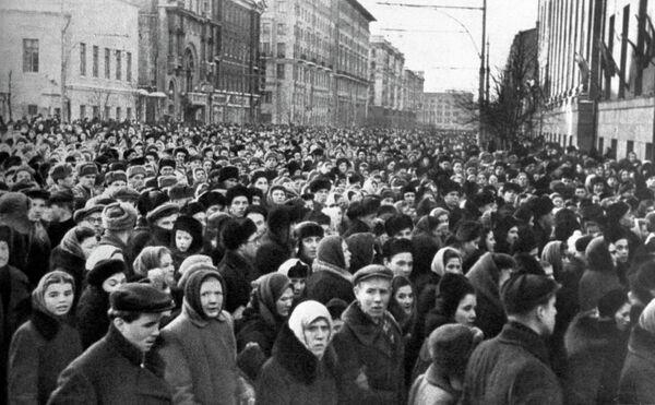 В час похорон И.В. Сталина на улицах Москвы
