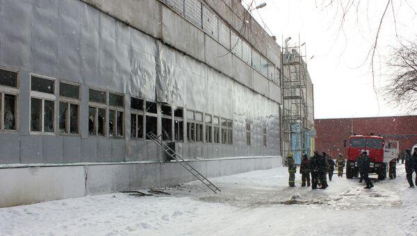 Тушение пожара на комбайновом заводе в Красноярске