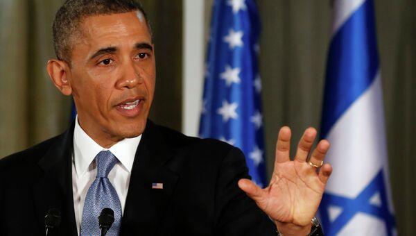 Президент США Барак Обама на пресс-конференции в Иерусалиме