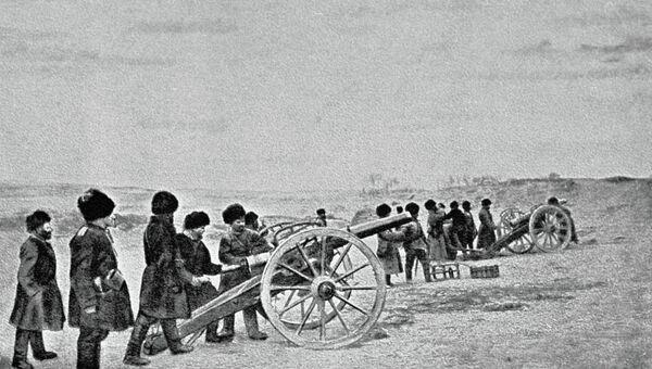 Артиллерия ведет огонь во время боя у деревни Хаумахулинцзе. Русско - японская война 1904 - 1905 г. г.