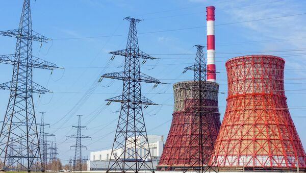 Тепловые электростанции и линии электропередачи, архивное фото