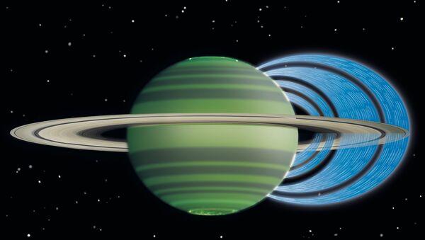 """Компьютерная модель того, как Сатурн """"высасывает"""" воду из своих колец. Иллюстрация авторов статьи."""