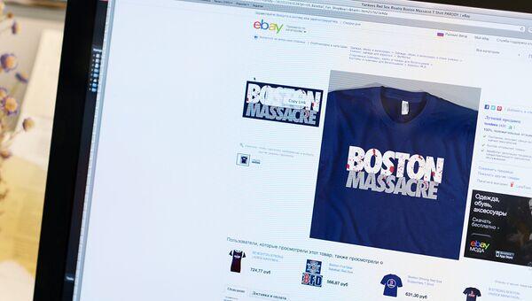 Футболки с надписью Бостонская резня на cайте E-bay