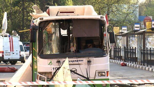 Последствия взрыва газового баллона в автобусе в Москве. Кадры с места ЧП