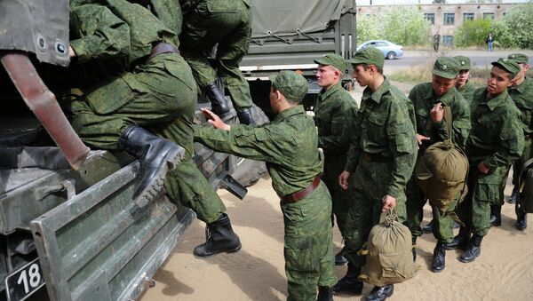 Отправка призывников в армию. Архивное фото