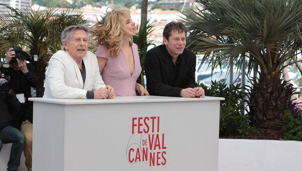 Роман Полански, Эммануэль Сенье и Матье Амальрик на 66-м Каннском кинофестивале
