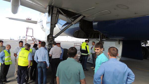 Самолет, в котором обнаружили тело мужчины, на осмотре в аэропорту Внуково