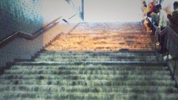 Последствия ливня в метро Царицыно