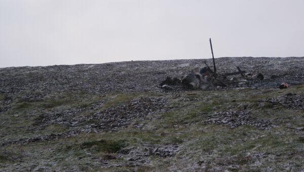 Обломки вертолета Ми-8, потерпевшего крушение в Якутии
