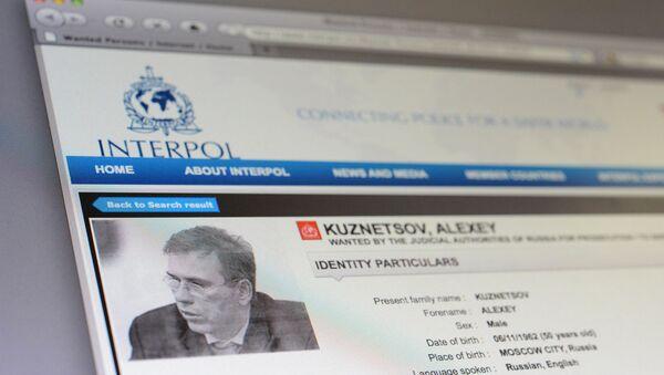 Страница с данными Алексея Кузнецова на сайте Интерпола, архивное фото
