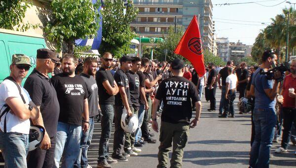 Акция ультраправых в Афинах
