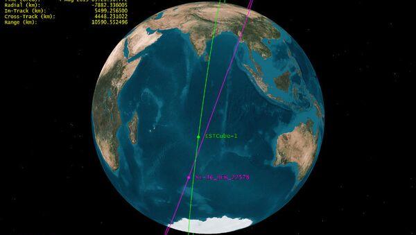 Орбиты спутника ESTCube-1 и фрагмента российской ракеты Зенит-2