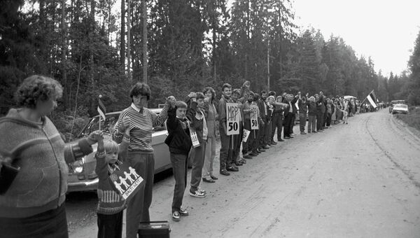 Живая цепочка солидарности Балтийский путь