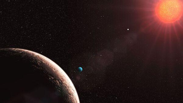 Планетная система у звезды Gliese 581 глазами художника