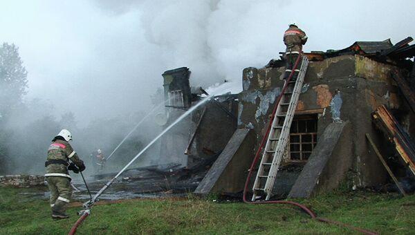 Пожар в психоневрологическом интернате Оксочи в деревне Лука