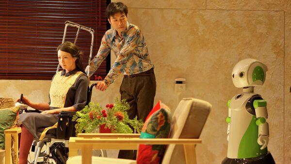 Сцена из спектакля Три сестры. Андроид-версия