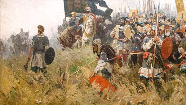 Картина Александра Бубнова Утро на Куликовом поле, архивное фото