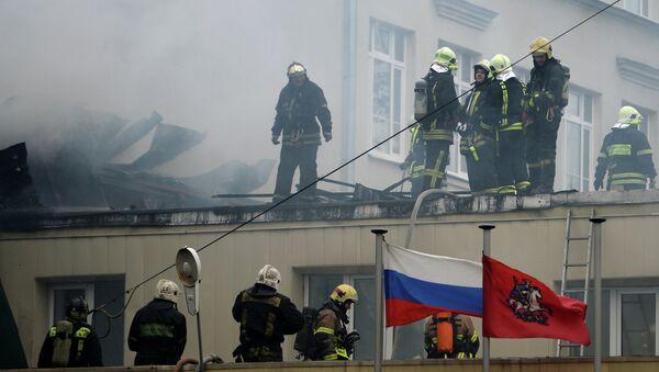 Пожар в здании управы района Беговой. Фото с места события